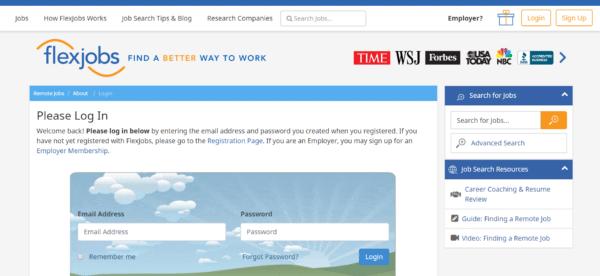 Remote jobs on Flex Jobs