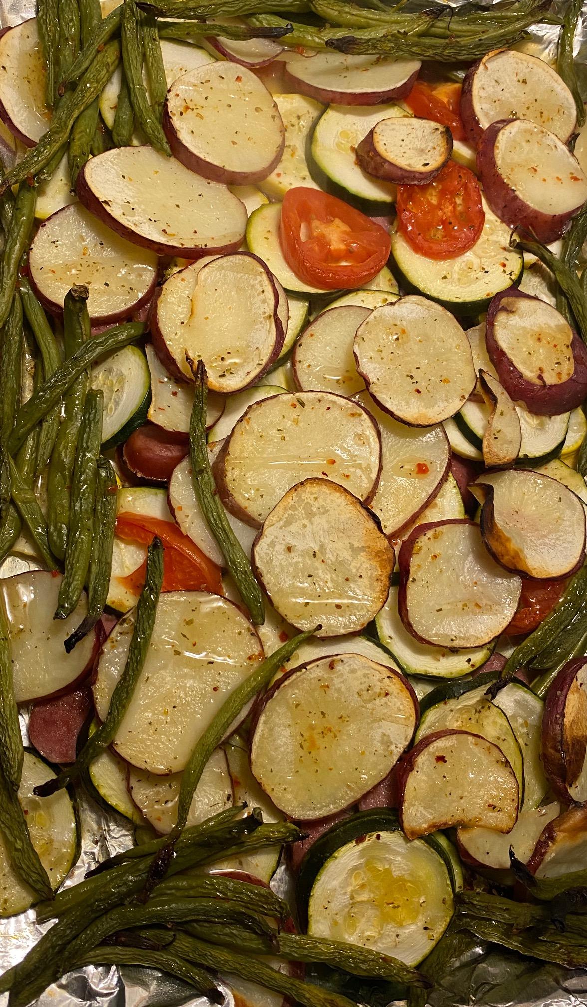 Turkey Sausage & Veggie Pan Sheet with Baked Sweet Potato Recipe